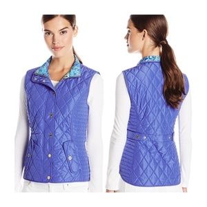 Lilly Pulitzer Blake Vest Quilted Blue Floral M